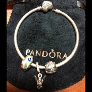 Pandora Bangle With Genuine Discontinued Charms